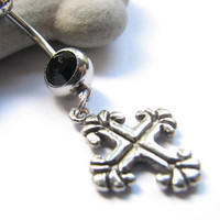 Gothic Cross Belly Button Jewerly, Silver Celtic Cross Bellybutton RIng