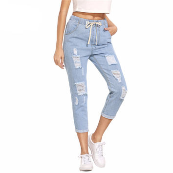 Just Trousers in Blue Ripped Drawstring