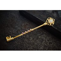 Opal Heart and Skeleton Key Yellow Gold Industrial Barbell Scaffold Piercing