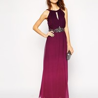 Little Mistress Ombre Maxi Dress with Embellished Waist