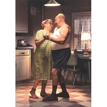 Anniversary Greeting Card - Couple Dancing in Kitchen