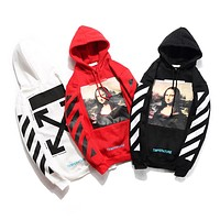 OFF WHITE C/O VIRGIL ABLOH Mona Lisa OW Men and women hooded sweater F-A-KSFZ