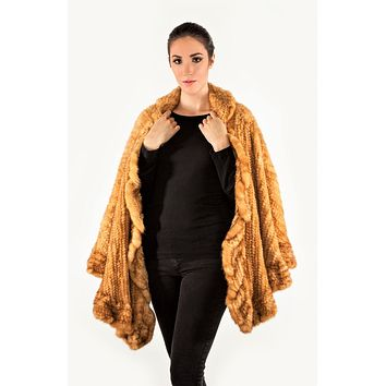 Volare Knitted Mink Poncho Ruffle Cape