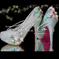 CHARLIE CO. Doll's House 2012 Edition Closed Toe / Peep Toe Multitone Tone Heels Bridal shoes Prom Strass Diamond Evening Unique vine leaves