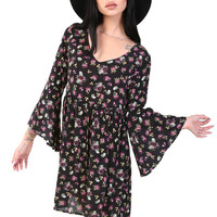 FLORAL FINESS BELL SLEEVE DRESS