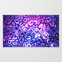 TRIBAL LEOPARD GALAXY Animal Print Aztec Native Pattern Geometric Purple Blue Ombre Space Galactic Area & Throw Rug by EbiEmporium