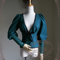 Beyond the End of Time, Steampunk Gothic Lolita Deep V Neckline Puffed-Up Sleeves Suede Jacket*3colors Instant Shipping