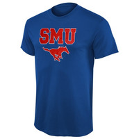 SMU Mustangs Arch Over Logo T-Shirt - Royal Blue