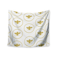 """Jennifer Rizzo """"Busy As A Bee White And Maize"""" Yellow Nature Wall Tapestry"""