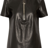 Givenchy - Top in black leather with zip detail