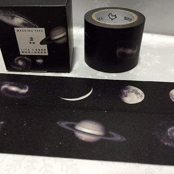 Crescent full moon washi tape 7M mystery sky black night scenes masking tape outer space universe scenery decor black tape gift wrapping