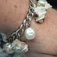 VINTAGE Chunky MID CENTURY Puffy Fish Pearls Bauble Charm Bracelet 1950s Jewelry