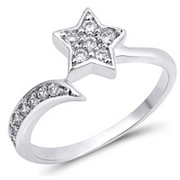 Sterling Silver Shooting Star Cubic Zirconia Ring