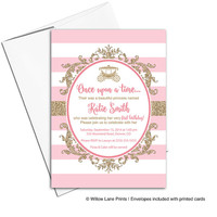pink and gold princess birthday invitation for girls | printable or printed | glitter first birthday party invitations - WLP00323