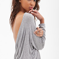 FOREVER 21 Open-Back Knotted Top Heather Grey Large