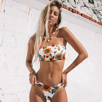 Sunflower Print Strapless Beach Bikini Swimsuit