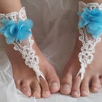 ivory lace wedding sandals,something blue, free shipping!