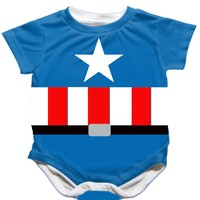 Striped Handmade Captain America Onesuit - Available 0-24 Months