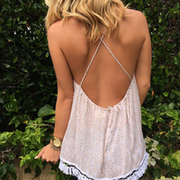 Soft Rose Fringe Top