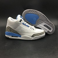 Air Jordan 3 Retro UNC PE White Blue AJ 3 Sneakers