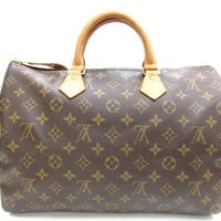 LOUIS VUITTON Monogram Speedy 35 Hand Bag Browns M41524 Auth F/S JAPAN