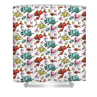Fun Colorful Tropical Fish Pattern For Kids By Megan Duncanson Shower Curtain for Sale by Megan Duncanson