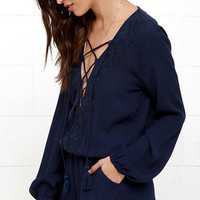 Cloud Nine Navy Blue Embroidered Lace-Up Romper