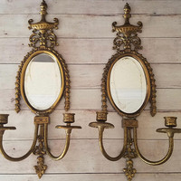 Large Brass Mirror Wall Sconces/ French Country/ Ornate Brass Wall Sconces/ Vintage Wall Sconces/ Candle Sconce/ Large Brass Sconces/ Boho