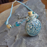 Tree of Life Bottle Jar Vessel Pendant Hemp Macrame Necklace - Blue - Hemp Jewelry