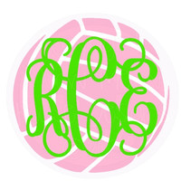 Monogrammed Volleyball Decal for Car, Laptop, Locker - 4 in x 4 in Custom Sports Sticker - Team School Spirit Personalized Decal