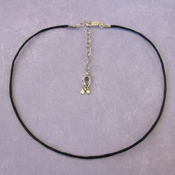 """22"""" to 24"""" Adjustable Black Satin Cord Necklace With Hope Ribbon Decoration - 201 -3"""