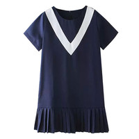 Navy Blue Preppy Style V-Neck Short Sleeve Pleated Dress