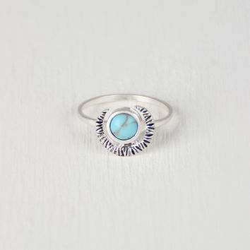 Crescent Moon and Faux Turquoise Ring