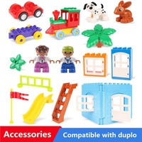 Diy Big Size Building Blocks Accessories Parts Cpmpatible With Legoingly Duplo Window Doors Tree Slide Toys For Children Gift