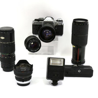1980s Canon AE-1 Program 35 mm Camera, With Accessories and Lenses