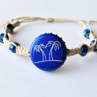 Seagrams Wine Cooler Recycled Bottle Cap Hemp Bracelet, palm tree jewelry, bottle cap, hemp jewelry, summer bracelet, beach jewelry