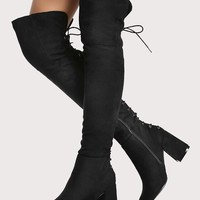 Lace Up Round Toe Chunky Heel Thigh High Boots BLACK