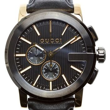 Men's Gucci 'G-Chrono' Guilloche Dial Leather Strap Watch, 44mm - Black