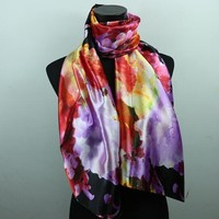 Lily Flower Women's Fashion Satin Scarf