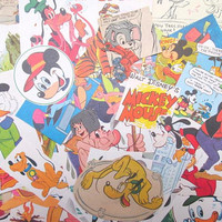 Disney themed ephemera scrapbook kit: pack of 50 vintage paper pieces, die cuts. Craft pack for scrapbooks, journaling, collage EP808