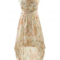 Boho Goddess Paisley Print High-Low Dress in Beige/Green | Sincerely Sweet Boutique