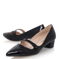 **Audrina Black Low Heel Court Shoe By Miss KG