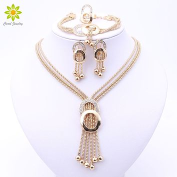 Women Bridal Fine Crystal African Beads Jewelry Sets For Wedding Party Dress Accessories Set Earrings Pendants Necklace Rings