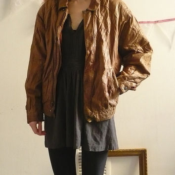 90's Vintage Slouchy Tan Leather Biker Bomber Jacket Size S/M