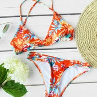 Calico Print Cross Strap Bikini Set -SheIn(Sheinside)