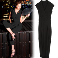 Casual Stylish Womens Solids Blacks Reds Jumpsuit Rompers Cap Sleeve V-neck 1a5