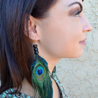 Feather Earrings - Feather Jewelry - Peacock Feathers - Beaded Earrings - Tribal Jewelry - Fashion Trends