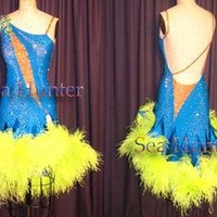 Feather Ballroom Latin Cha Cha Ramba Dance Dress US 8 UK 10 Skin Blue Yellow