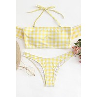 Yellow Off The Shoulder Gingham Bikini Set