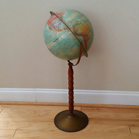 "Vintage 12"" Replogle World Nation Series Standing Floor Globe on Metal Stand Base Great Mid Century Decor for the Mantel Library Classroom"